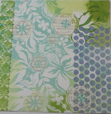 """2 Sheets Of Craft 8""""x 8"""" Scrapbooking Or Card Making Paper - Glitter Flowers"""