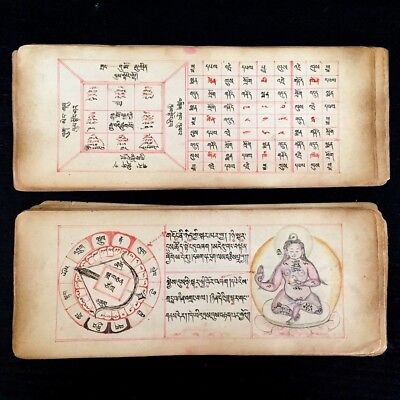 Antique Buddhist Astrological Manuscript - With Working Volvelle - Mongolia