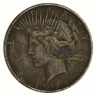Early 1922 Peace Silver Dollar - 90% US Coin *446