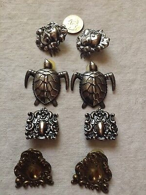 Lot of 4 Pairs LARGE Silver, Brass Pierced Earrings.1980s RETRO Vintage. UNIQUE