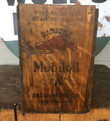 Vintage Mobil Mobiloil A Gargoyle Vacuum Oil Co Wood Crate Box New York USA