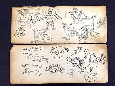 Antique Mongolian Buddhist Drawing -  Animals and Monsters X2 Leafs