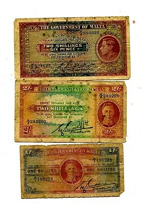 Malta Set Of 3 Old Notes 1/2/2.5 Shillings King George Vg+ 16.25