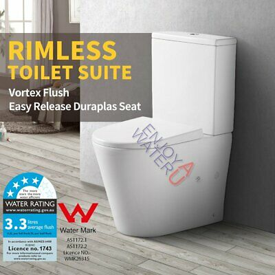 RIMLESS Toilet Suite Back to wall Full Ceramic P S trap Washdown WELS WATERMARK