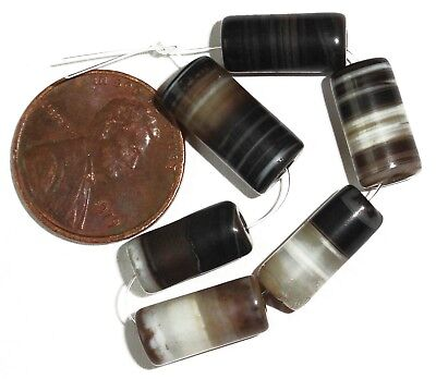 6 Very Rare Antique Islamic Agate Beads ... 13-15mm