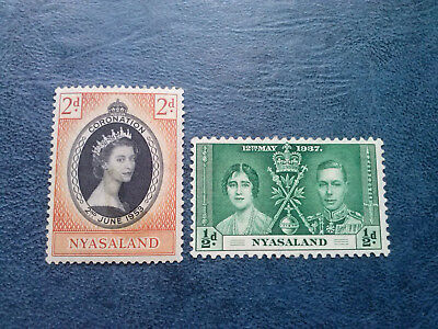 1937 NYASALAND 1/2d SCOTT# 51 S.G.# 127  + CORONATION 1953 MINT