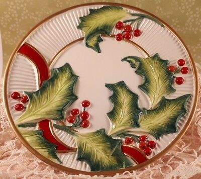 """Fitz And Floyd Essentials Noel Classique Christmas Canape 8"""" Plate 2004"""