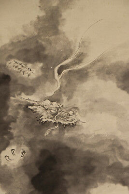 """JAPANESE HANGING SCROLL ART Painting """"Dragon"""" Asian antique  #E3933"""