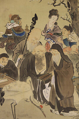 """JAPANESE HANGING SCROLL ART Painting """"Seven god of lucky fortune""""  #E3916"""