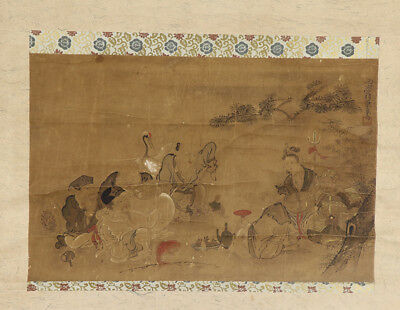 """JAPANESE HANGING SCROLL ART Painting """"Seven god of lucky fortune""""  #E3922"""