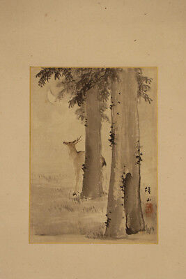 """JAPANESE HANGING SCROLL ART Painting """"Deer and Moon""""  Asian antique  #E3930"""