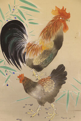 """JAPANESE HANGING SCROLL ART Painting """"Chicken"""" Asian antique  #E3931"""