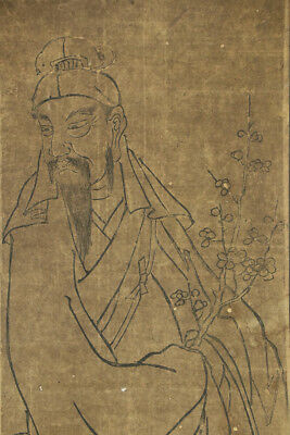 """JAPANESE HANGING SCROLL ART """"Chinese Tenjin"""" Asian antique  #E3920"""