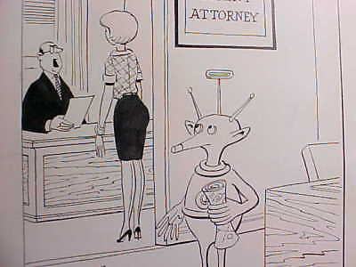 "1964 DALE McFEATTERS ""STRICTLY BUSINESS"" PEN & INK CARTOON WITH ALIEN ET Fine"