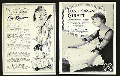 (2) Vtg 1917 LANE BRYANT Stout Fashions & LILY OF FRANCE Corsets VOGUE Mag Ads