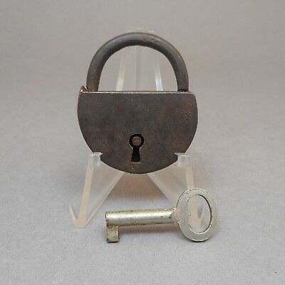 Vintage or Antique Working Miniature Steel or Iron Lock Padlock with Key No Mark