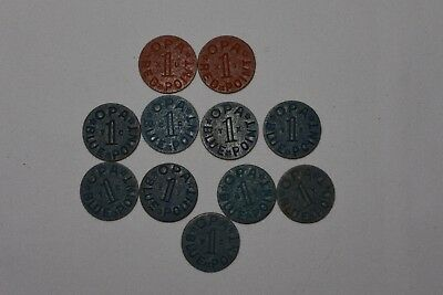 """Large Lot Of 11 Wwii Opa Food Ration Tokens Blue & Red ~ Rare Blue """"Wc"""" Token"""