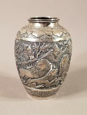 Antique Vintage Persian 84 Silver Piernaeei Isfanhan Esfahan Vase 8.93 Ounces