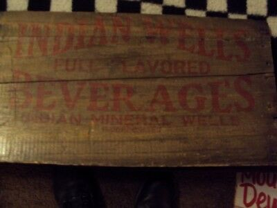 RARE EarlyIndian WellsSoda Wood Crate Sign Antique Westernnot Motorcycle Oil