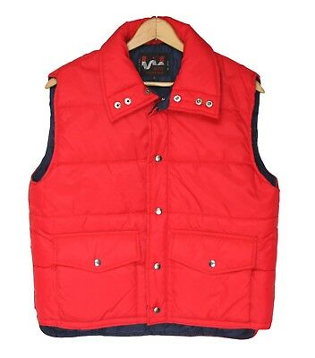 Vintage ALTO Red Nylon Poly Insulated Snap Button Puffer Ski Winter Vest Sz. L