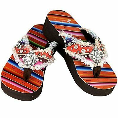 5cb68803393f MONTANA WEST WOMEN S Hand Beaded Flip Flop Sandals 10BM ...