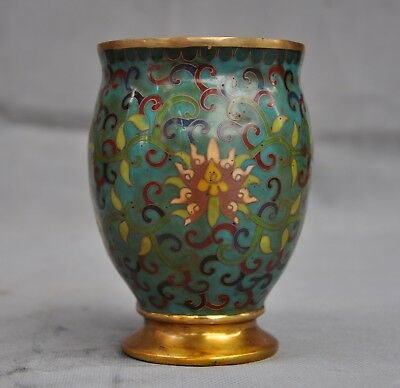 Old Chinese Bronze Cloisonne Enamel Gilt flower statue Zun Bottle Pot Vase Jar