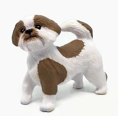Shih Tzu Dog Vinyl Dollhouse Doll House Figure Accessory White w/ Tan Spots