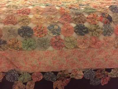 Antique Vintage Yo Yo  Hand Sewn Almost 1000 Discs Queen Bed Quilt Cover 70x85
