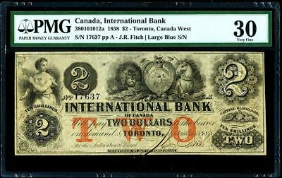 1858 International Bank of Canada $2 Red Protectors PMG30
