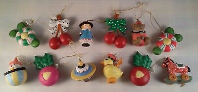 Mary Engelbreit Small Christmas Ornaments - Mary Duck Top Cherries Pulltoy Clown