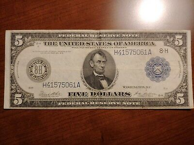 1914 $5 Federal Reserve Note St. Louis Large Size Nice Condition!