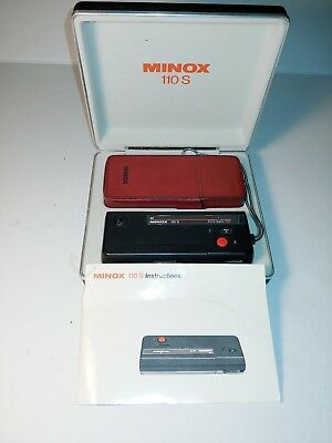 Minox 110S Rangefinder Camera + Authentic Case 25mm F2.8 110 S Spy W/ Case/Strap