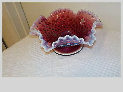 Fenton Art Glass Plum Hobnail Opalescent Candle  Bowl Holder Sconce With Lable