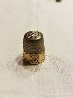 Antique Gold Band Sterling Silver .925 Thimble by Goldsmith, Stern & Co * C1900
