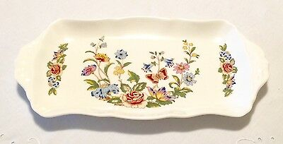 "Aynsley Fine Bone China Made In England Cottage Garden Large Tray 12.25"" x 6.25"""