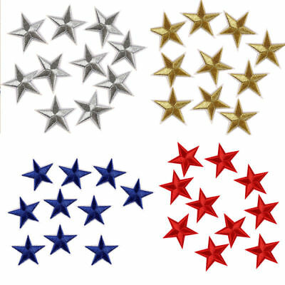 10pcs Star Embroidery Sew Iron On Patch Badge Clothes Applique Bag Fabric 4.4cm
