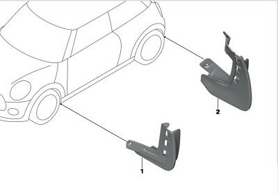 Genuine Mini F56/F57 Mud Flaps (Full Set of 4, Front and Rear) 82162338565/566