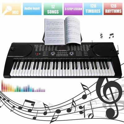 Digital 61-Tasten Keyboard E-Piano Klavier Led Display Lern Funktion 255 Sounds!