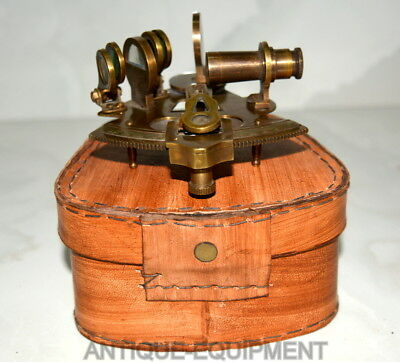 "Vintage Brass Nautical 4"" Sextant Astrolabe Kelvin & Hudges Sextant Leather Box"