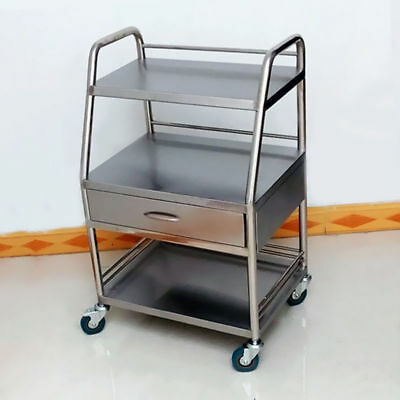 Three Layers Medical Serving Trolley Drawer Dental Lab Cart Stainless Steel BIN