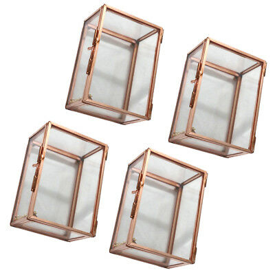 4Pcs Modern Desktop Rectangle Glass Geometric Terrarium Air Plants Container