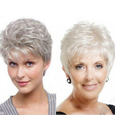 Women's Short Curly Wavy Silver Gray Wig Heat Resistant Synthetic Hair Full Wigs