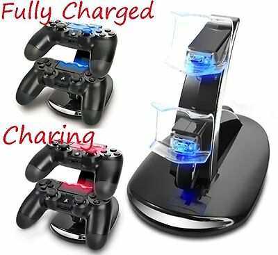 Black Dual USB Charging Charger Docking Stand Station for PS4 Controller New