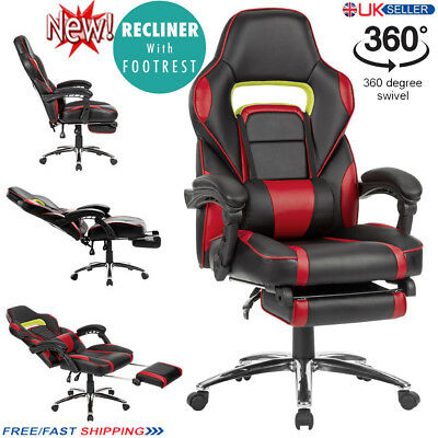 Langria Reclining Sports Racing Gaming Executive Office Desk Faux Leather Chair