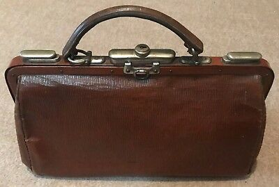 Vintage Leather Doctor Bag with Key Lock Clasp