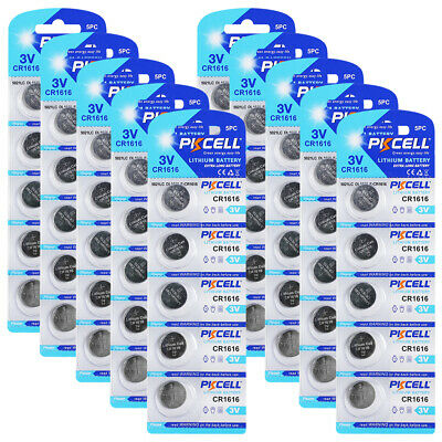 50pcs CR1616 Lithium Batteries BR1616 ECR1616 3V Button Coin Cell PKCELL CA SHIP