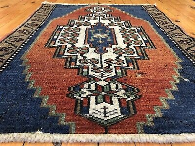 Beautiful Antique 1940-1950's Wool Pile  Natural Dyes Rug