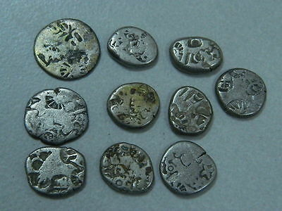 Ancient Silver PunchMark 10 CoinS Of Mauryan Empire 215 BC  #GL1823