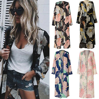 AU Women Boho Floral Chiffon Beach Kimono Cardigan Long Cover Up Jacket Coat Top