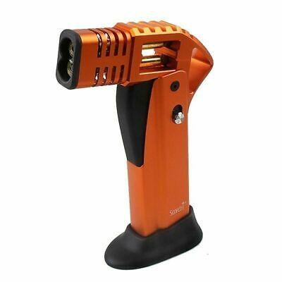 SCORCH TORCH LIGHTER TWIN  JET FLAME TURBO Windproof REFILLABLE Orange